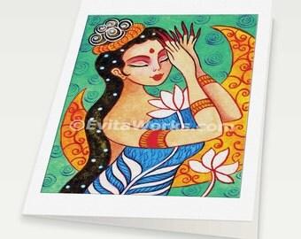 Praying Indian woman Lotus Meditation spiritual painting altar goddess art lotus Indian decor, woman card, Indian art card, 6x8