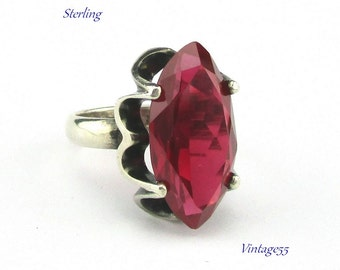 Sterling Ring Synthetic Ruby Mexico Size 7 plus