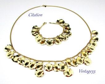 Necklace Bracelet Set Citation Ginkgo Charm