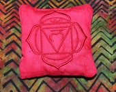 Root Chakra Pillow - Root Chakra - Chakra Pillow - Crystal Healing - Crystal Grid - Reiki - Crystal Display Pillow - SMALL - EMBROIDERED