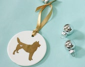 Dog Silhouette Ornament - Gold Ornament - Ceramic Ornament Dogs - Dog Breed Ornament - Dog Lover -  Christmas Decorations
