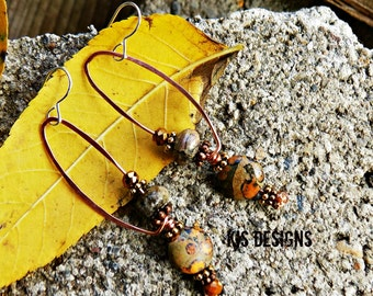 Jasper Earrings with Copper and Sterling Silver
