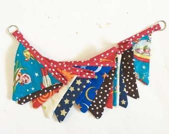Space Theme Banner, Happy Birthday Banner, Ready to Ship Cloth Banner