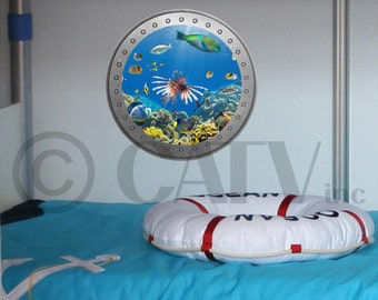 Porthole Underwater Ocean Scene vinyl wall lettering kids room decor boat ocean theme wall decal self adhesive sticker