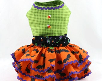 Dog Dress, Dog Harness Dress, Cute Dog Halloween Outfit, Custom Dog Dress, Ruffle, Dog Fashion for Small Dogs, Fancy Dress, Orange, Bats