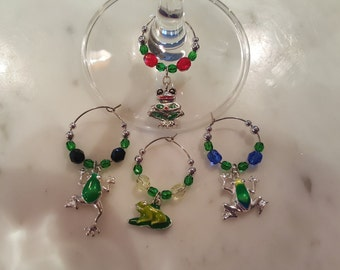Frog Frogs Toad toads Wine Charms with Pouch