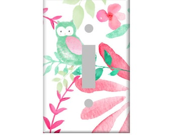 Watercolor Owl Switchplate Cover, Light Switch Cover Single, Triple Switchplate, Double switchplate, Mint and Pink Nursery