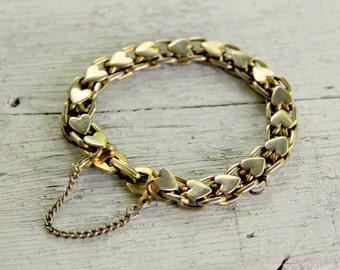 HEAVY Heart Bracelet Vintage Quality Gold tone
