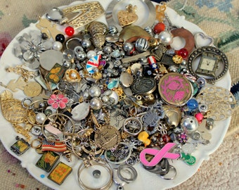 HUGE 1 POUND 9 Oz METAL Bead Findings Lot Silver Gold Tone