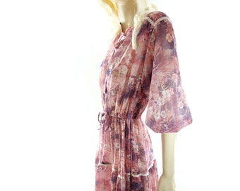 Vintage 70s Dress, 1970s Floral Dress, Dusty Rose Floral, 1970s Boho Dress, 1970s Midi Dress, Bohemian 70s Dress, Dusty Rose Dress, s