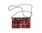 Colorful ROSETTE Purse Small Fabric Purse Shoulder Bag Cross Body Wallet Purse Long Skinny Strap Boho Preppy Purse Floral Flower Roses