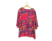 Pink Tunic Top Shirt Paisley & Floral Print Slouchy Festival Blouse Ethnic Rayon Shirt Hippie Bohemian Vintage size XL Large