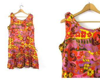 60s Floral Dress Flower Power Mod Mini Dress ABSTRACT Sundress Orange and Purple Hippie GO GO Op Art Sleeveless Dress Vintage Size Large