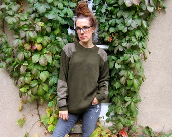 Vintage Military Sweater Army Green RIBBED Pullover Rib Knit Chunky Sweater Patchwork Panels Elbow Patches Oversized Slouchy Grunge L XL