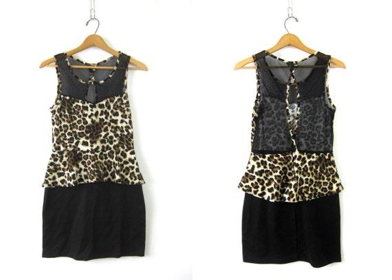 1980s Body Con dress stretchy MESH dress Tank Top Leopard Animal Print grunge sexy tight dress Jungle Mini Dress Size Medium