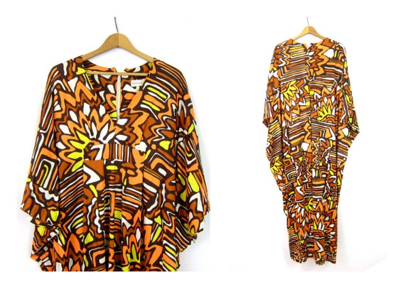 Retro 1970s CAFTAN Dress Psychedelic Print Resort Wear Lounge Beach Flowing Maxi Long Dress Boho Vintage Size Large