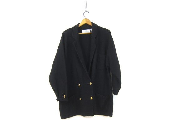 90s Black WOOL Sweater Button Up Cardigan Sweater with Pockets Knit Wool Oversized Modern Minimal Long Wool Swaeter Coat Womens Large XL