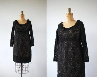 vintage 1960s black lace dress / 60s black lace baby doll dress / 60s long sleeve mini dress / lace and ruffles dress / size large
