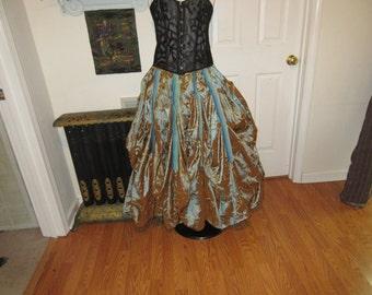 Steampunk skirt small, med, large , xl , plus sizes 2xl, 3xl, 4xl teal copper , beige , full skirt 10 yards full adjustable waist beautful