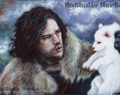 ACEO Original Miniature Painting Game of Thrones Jon Snow Direwolf Ghost Fantasy ART