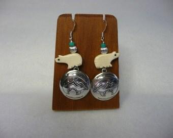Southwestern Sterling Silver and Bone Zuni Bear Earrings