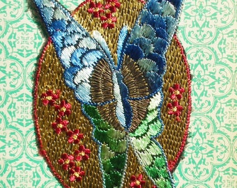 Vintage Applique 1920s 1930s Sew On Fabric Applique Butterfly Embroidered 20s 30s Dress Trim Blue Green Beige Gold Tone Metallic Thread