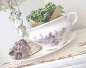 Vintage Transferware Pot * Mulberry * The Wellerville China Co. * Purple Roses