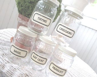 Vintage Glass Spice Jars * Old Farmhouse * Shabby Cottage