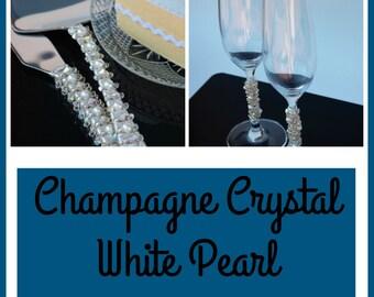 Champagne crystal wedding cake server set cake knife custom cake cutter champagne flutes toasting flutes wedding table decor Swarovski