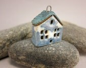 Sky Cottage...Stoneware Pendant / Necklace