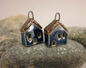 READY TO SHIP...Ink Blue Miniature House Charms in Stoneware...Set of 2