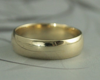 Men's Gold Wedding Band--Solid 10K Gold Wedding Ring--6mm Plain Jane Half Round Band--Men's Traditional Gold Band--Men's Wedding Ring