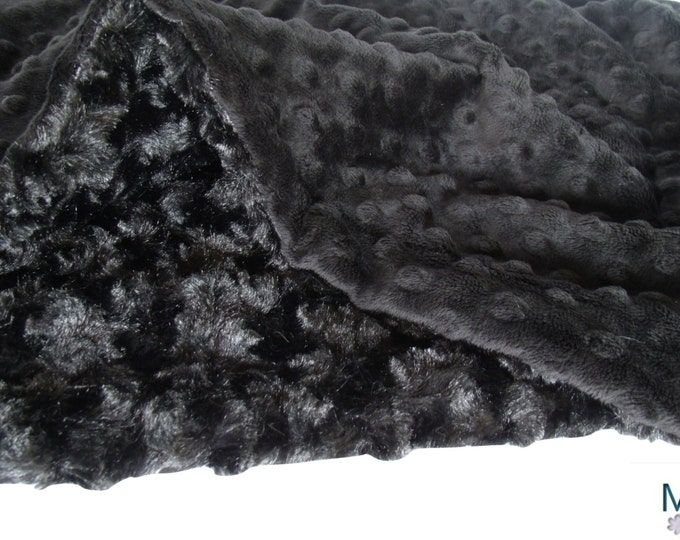 Solid Black Minky Dot and Plush Rose Swirl Blanket - Black Rose Swirl Minky Blanket - Luxe Black Minky BlanketCan Be Personalized