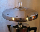 Ford Presto coffee pot lamp with hubcap shade and LED bulb