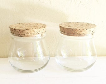Two 2 Matching Glass Apothecary Jars with Cork Lids Wide Mouth Opening