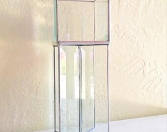 Vintage Silver Metal Framed Beveled Glass Box Pedestal Decorative Grand Statement Piece