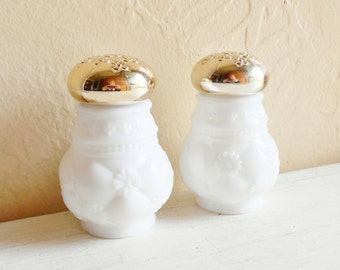 Pair of Milk Glass Perfume Cologne Bottles with Gold Lids Decorative Jars