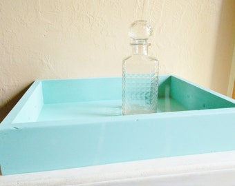 Large Turquoise Blue Serving or Decorative Tray Wood Box with Handles