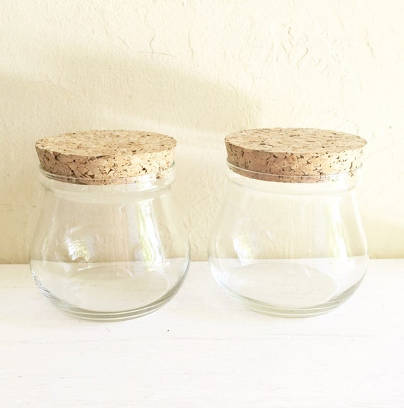 two 2 matching glass apothecary jars with cork lids wide mouth. Black Bedroom Furniture Sets. Home Design Ideas