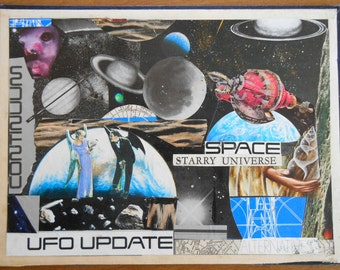 Original UFO Collage art on recycled Book Cover, space travel, UFO Update, OOAK, made from recycled materials