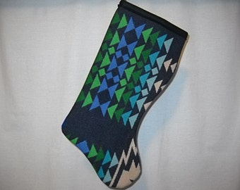 Christmas Stocking Wool Deep Blue and Bold Arrows Southwestern Tribal Geometric Handcrafted Using Fabric from Pendleton Woolen Mill