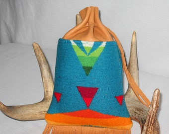 Fringed Possibles Bag XL / Cedar Bag / Medicine Bag / Drawstring Bag Wool and Leather Handcrafted Using Fabric from Pendleton Woolen Mill