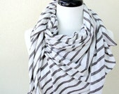 Linen knit scarf, large linen shawl, taupe white stripes wrap in natural linen