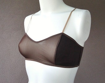 Sheer bralette, organic cotton and lace bra, sexy lingerie, vintage style bra, handmade lingerie, organic underwear shop, more colors