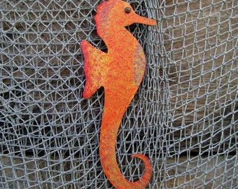 Metal Wall Art Seahorse Sculpture Red Orange Recycled Metal Indoor Outdoor Marine Beach House Coastal Bathroom Art  5 x 12