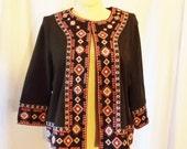 Vintage Embroidered Brown Cardigan Jacket Bohemian Plus Size