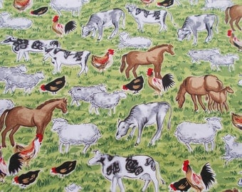 Farm Fabric Barnyard Fabric Cow Fabric Horse Fabric Chicken Fabric Cotton Novelty Fabric Quilting Fabric Timeless Treasures BTY By The Yard
