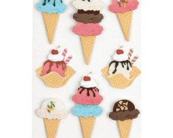 Little B Ice Cream Cones  3D Stickers, Set of 8 Stickers, Cardmaking, Scrapbooking