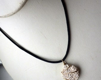 White Sponge Coral Necklace - Gold Thread Setting.