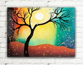 "SALE Colorful Wall Art Canvas Tree Painting, Abstract Tree Art Landscape Moonlight Painting Wall Decor 18""x24"""